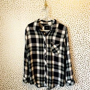Rails Navy & Green Plaid Button Down